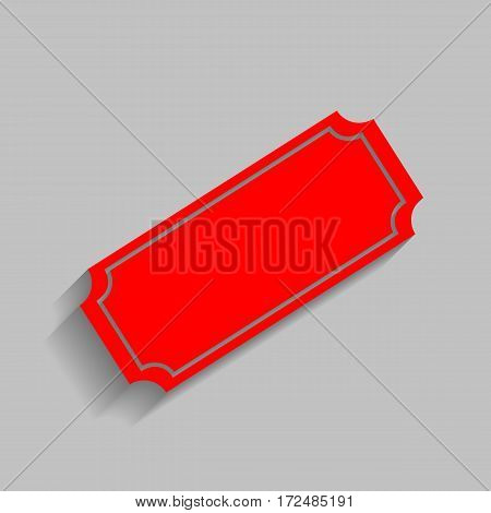Ticket sign illustration. Vector. Red icon with soft shadow on gray background.
