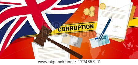 UK United Kingdom England Britainfights corruption money bribery financial law contract police line for a case scandal government official vector