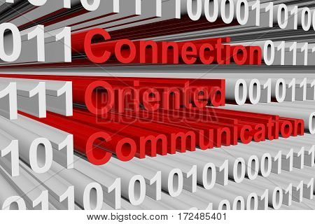 connection oriented communication in the form of binary code, 3D illustration