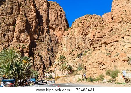 Tinghir Morocco - Jan 05 2017: Todgha Gorge is canyon in Atlas Mountains near Tinerhir city