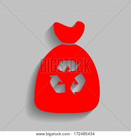 Trash bag icon. Vector. Red icon with soft shadow on gray background.