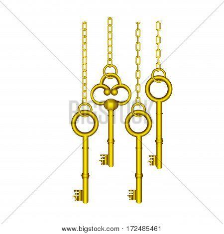 gold old keys hanging icon , vector illustration image design