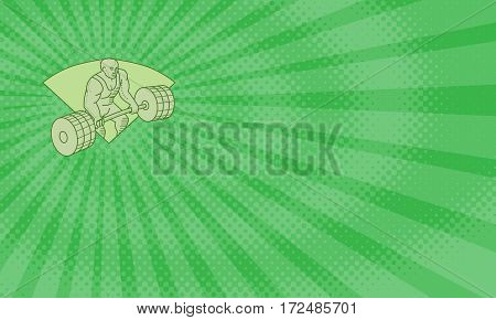 Business card showing Mono line style illustration of a weightlifter lifting barbell weights with both hands set inside shield crest on isolated background.