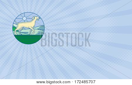 Business card showing Mono line style illustration of an english pointer dog in a pointer stance with head up tail out and one foot slightly raised with grass trees and mountain in the background viewed from the side set inside circle.