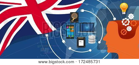 UK United Kingdom England Britain IT information technology digital infrastructure connecting business data via internet network using computer software an electronic innovation vector