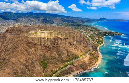 Aerial View Of Diamond Head Volcano Crater In Honolulu Hawaii
