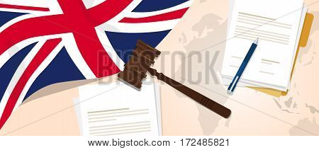 UK United Kingdom England Britain law constitution legal judgment justice legislation trial concept using flag gavel paper and pen vector