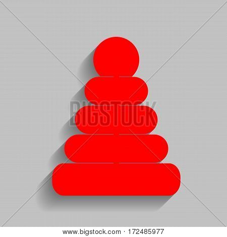 Pyramid sign illustration. Vector. Red icon with soft shadow on gray background.