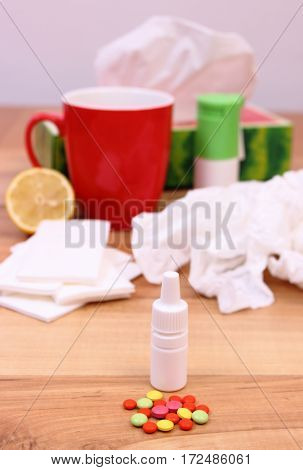 Pills And Nose Drops For Colds, Used Handkerchiefs And Hot Tea