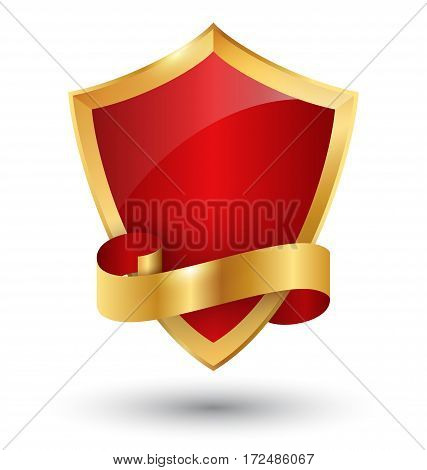 Golden Premium Quality Red Best Label Space for Text Isolated on White Background