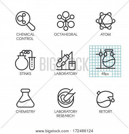 Set of nine vector icons of chemistry, experiments, research, medicine concept. Logo pixel perfect 48x48 px. Line contour pictograph for websites, mobile apps and other design needs