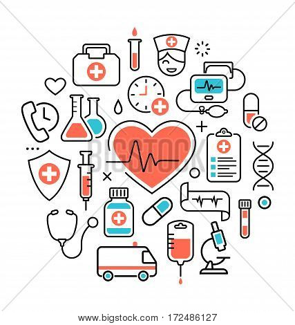 Health Heart Care Concept Medical Icons Signs Isolated on White Background