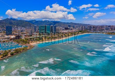 Aerial View Of Downtown Honolulu Hawaii