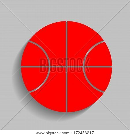 Basketball ball sign illustration. Vector. Red icon with soft shadow on gray background.