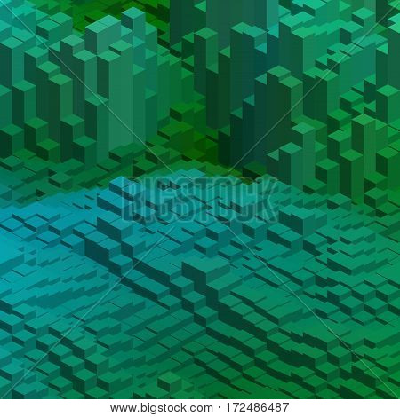 Abstract Background With Green, Blue Cube Decoration. Vector Illustration