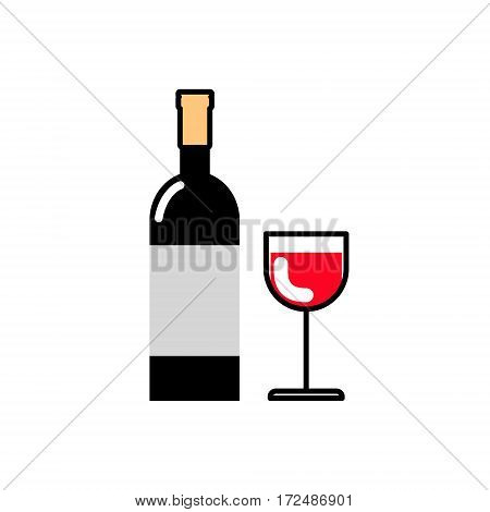 Bottle of wine and a glass of red wine. Alcoholic beverages. Icon flat line