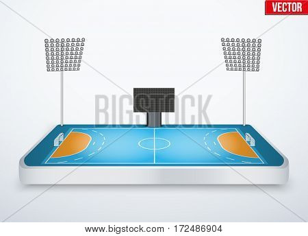 Concept of miniature tabletop handball arena. In three-dimensional space. Vector illustration isolated on background.