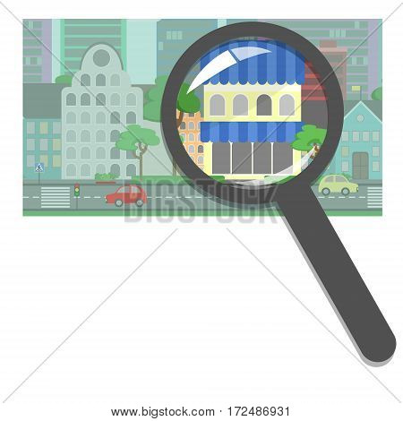 Buying and selling real estate real estate agency. Shops restaurants hotels searching for the right property. Concept vector flat