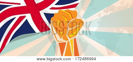 UK United Kingdom England Britain fight and protest independence struggle rebellion show symbolic strength with hand fist illustration and flag vector