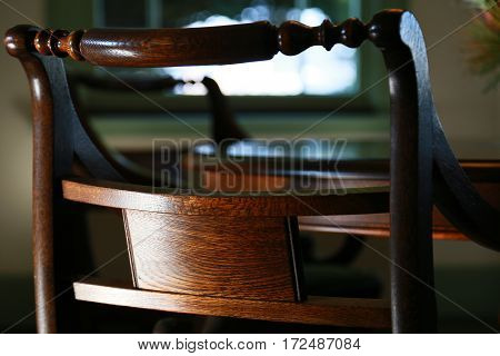 Scene of the grain of wood design of the wooden chair of the room