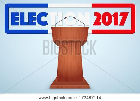 Podium Tribune with French Election 2017 Symbol. Design template and element. for greeting and invitation. Vector Illustration