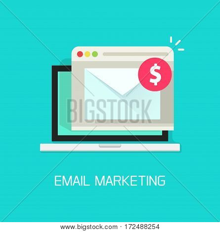 Email with income money received in laptop computer and browser window, internet digital letter, communication, flat cartoon style e-mail marketing concept isolated on blue background