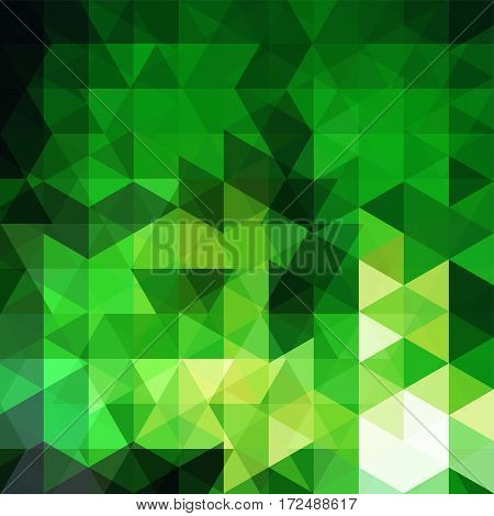 Background Made Of Green Triangles. Square Composition With Geometric Shapes. Eps 10