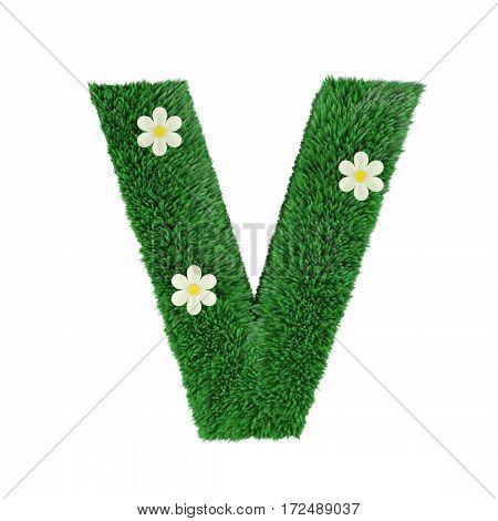 grass letter V isolated on white. 3d rendering