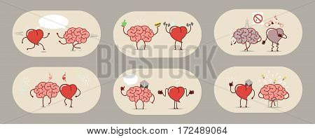 The brain and the heart set of stories. Teamwork heart attack healthy organs. Set of vector icons cartoon.