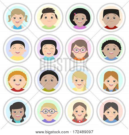 Avatars children's portraits. Boys and girls of different nationalities portraits. Cartoon vector