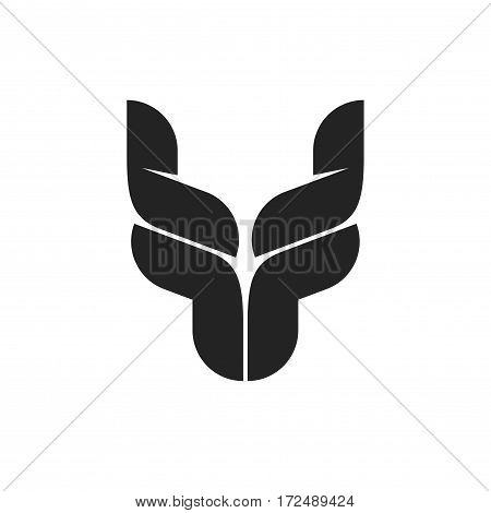 Bull head logo symbol, black bull horns emblem, ox head shape, breeding cattle logotype, red yak, dragon monochrome symbol, tattoo vector illustration isolated on white background