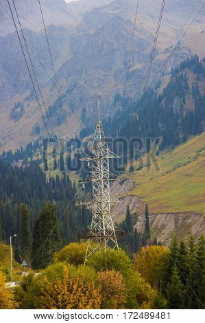 High Voltage Post. High-voltage Tower In The Mountains