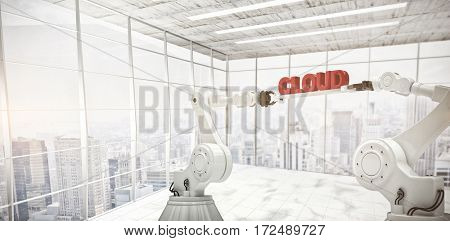 Mechanical robotic hands holding cloud text against white background against modern room overlooking city