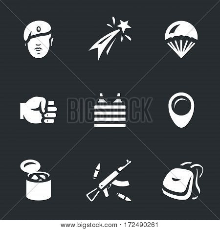 Soldier, fireworks, parachute, fist, vest, pointer, stew, weapon, backpack icons.
