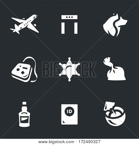 Aircraft, frame metal detector, dog, luggage, badge, sheriff, drug, alcohol, passport, cocktail icons.