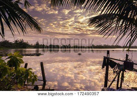 River at Hoi An Vietnam at sunset