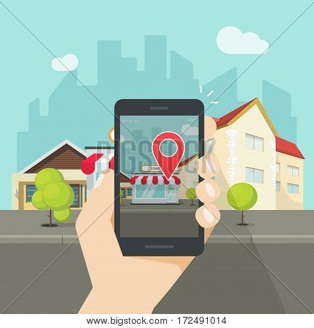 Augmented reality on mobile phone, concept of virtual popular street location on smartphone, navigation point city position on cellphone screen, mobile geo location service idea, vector illustration