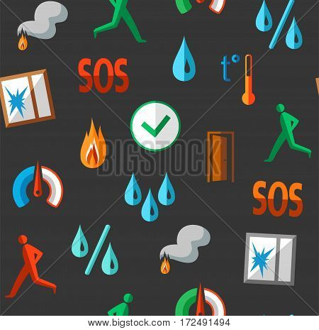 Alarm, background, seamless, fire detectors, humidity, motion, temperature, colour, grey. Vector flat background with pictures of alarm for alarm sensors. Colored icons on a dark gray field.