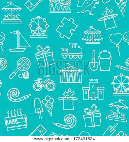 Children's entertainment and leisure, background, seamless, contour, blue-green.  Vector background with objects for the entertainment of children. White linear image of the turquoise field.