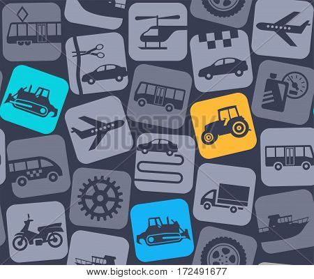 Transport and construction equipment, gray-blue background, seamless, color.  Yellow, blue and green, flat icons of tractors and bulldozer on a gray background. Vector background. Construction equipment.