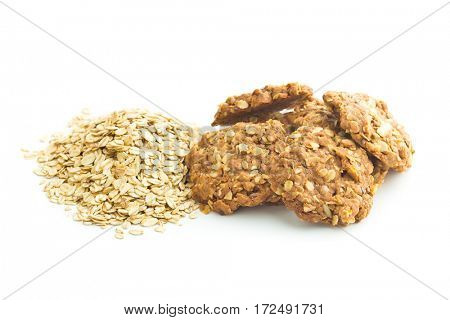 Homemade oatmeal cookies isolated on white background.