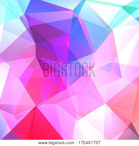 Background Made Of Pink, White, Blue Triangles. Square Composition With Geometric Shapes. Eps 10