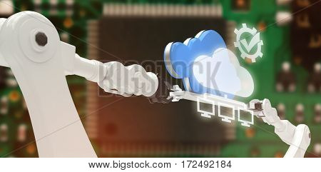 Tick symbol in gear against computers connected to the cloud against green pcb