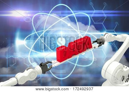 Metallic robotic hands holding red data text over white background against blue technology design with circles