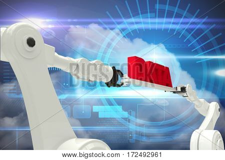 Robotic hands holding red data text against white background against blue technology interface with dial