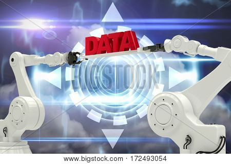 Metallic robotic hands holding red data message against white background against blue technology design with circle