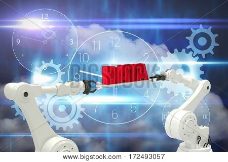 Digitally composite image of robotic hands holding red data text against blue technology design with clock