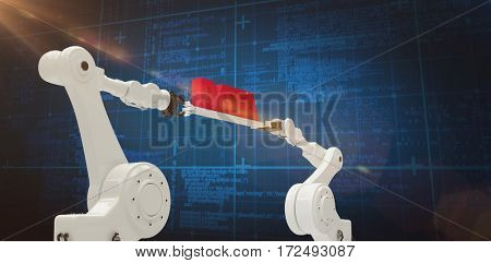 Metal robotic hands holding red data message against white background against blue background with vignette