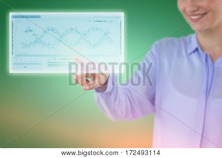 Smiling businesswoman using imaginative digital screen against helix diagram of dna