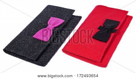 A Felt, Textile Ladies Handbags, Handmade Purses With Bows In The Color Black, Pink, Red.